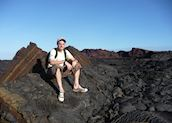 Simon on a lava flow, Santiago Island, Galapagos