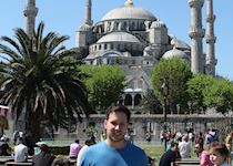 John outside the Blue Mosque in Istanbul, Turkey
