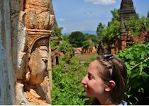 Hannah in a staring contest at the ruins of Inn Dein, Inle Lake, Burma